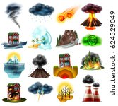 set of natural disasters... | Shutterstock .eps vector #624529049