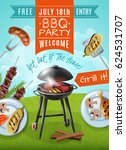 barbecue party poster with... | Shutterstock .eps vector #624531707