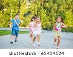 group of excited preschoolers... | Shutterstock . vector #62454124