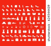 fashion icons on red background | Shutterstock .eps vector #624544439