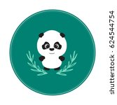 cute panda in emblem | Shutterstock . vector #624544754
