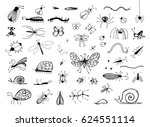 set of hand drawn insects bugs  ... | Shutterstock .eps vector #624551114