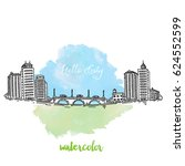 city with bridge and street... | Shutterstock .eps vector #624552599