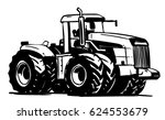 heavy tractor. black and white... | Shutterstock .eps vector #624553679