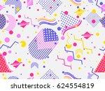 memphis seamless pattern.... | Shutterstock .eps vector #624554819