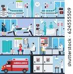 hospital interior flat... | Shutterstock .eps vector #624555509