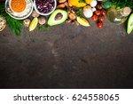vegetarian food background.... | Shutterstock . vector #624558065