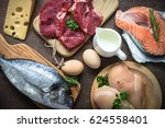 animal protein food at stone... | Shutterstock . vector #624558401