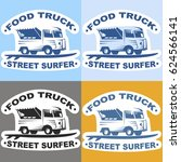 food truck stickers with surf... | Shutterstock .eps vector #624566141
