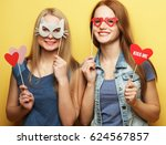 two stylish sexy hipster girls... | Shutterstock . vector #624567857