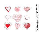 hand drawn hearts set. red... | Shutterstock .eps vector #624570239