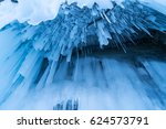 Blue Frozen Water In Ice Cave...