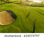 golf course top view with... | Shutterstock . vector #624573797