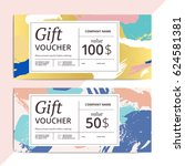 trendy abstract gift voucher... | Shutterstock .eps vector #624581381