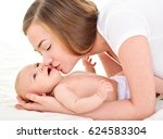 mother and baby playing and... | Shutterstock . vector #624583304