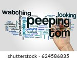 Small photo of Peeping tom word cloud concept on grey background