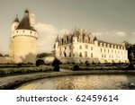 romantic Chenonceau - from my castle's collection - sepia toned picture - stock photo