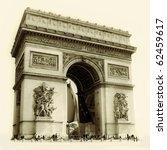 arc de triumph   sepia toned... | Shutterstock . vector #62459617