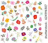seamless pattern with  flowers. ... | Shutterstock .eps vector #624596507