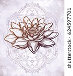 hand drawn beautiful boho lotus ... | Shutterstock .eps vector #624597701