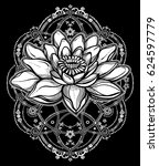 hand drawn beautiful boho lotus ... | Shutterstock .eps vector #624597779