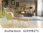 cozy armchair with ottoman in... | Shutterstock . vector #624598271