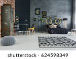 studio flat of single man with... | Shutterstock . vector #624598349