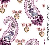 seamless pattern with paisley ... | Shutterstock .eps vector #624602204