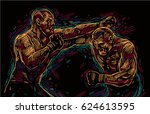two fighting man  aggressive... | Shutterstock .eps vector #624613595