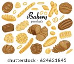 set of isolated colored bakery... | Shutterstock .eps vector #624621845