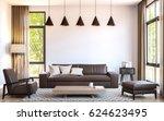 modern living room decorate... | Shutterstock . vector #624623495