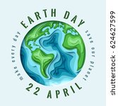 world earth day concept. 3d... | Shutterstock .eps vector #624627599