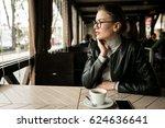 woman drinking coffee  | Shutterstock . vector #624636641