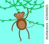 funny monkey. monkey hanging on ... | Shutterstock .eps vector #624640601