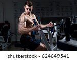 young muscular man with a naked ... | Shutterstock . vector #624649541