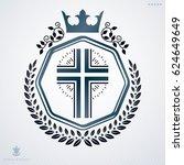vintage decorative heraldic... | Shutterstock . vector #624649649