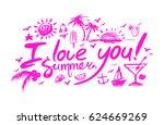 lettering i love you summer on...   Shutterstock .eps vector #624669269