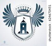 heraldic sign made with... | Shutterstock . vector #624670451