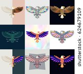 set of eagle logos. abstract... | Shutterstock .eps vector #624679109