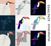 set of toucan logos. abstract... | Shutterstock .eps vector #624679955