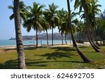 beautiful tropical beach and... | Shutterstock . vector #624692705