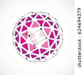 3d digital wireframe spherical... | Shutterstock . vector #624694379