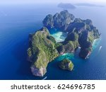 top view of isolated rocky... | Shutterstock . vector #624696785
