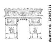 arch of triumph paris | Shutterstock .eps vector #624698351