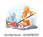 road service worker | Shutterstock .eps vector #624698555