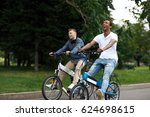 two young cheerful male friends ... | Shutterstock . vector #624698615