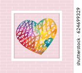 colorful triangle heart in... | Shutterstock .eps vector #624699329