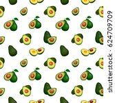 seamless pattern from avocado... | Shutterstock .eps vector #624709709