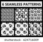 set of seamless black and white ... | Shutterstock .eps vector #624716009