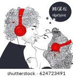 beautiful couple with headphones | Shutterstock .eps vector #624723491